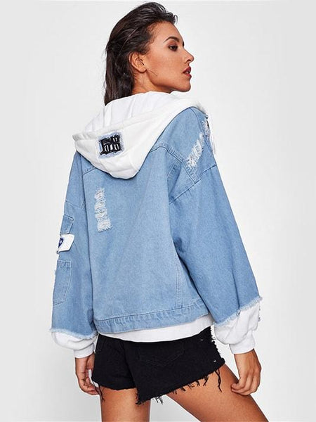 2 In 1 Hooded Denim Jacket - Modernly Fashome