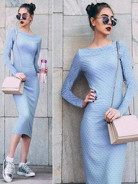 Blue Jacquard Bodycon Dress - Modernly Fashome