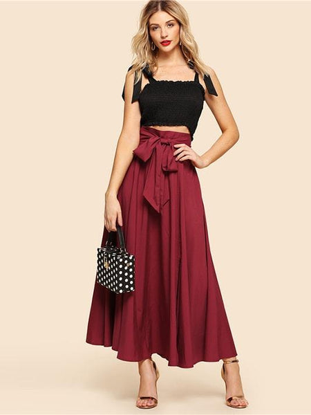 Burgundy Knot Front Flared Skirt - Modernly Fashome
