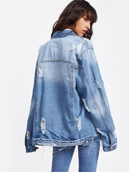 Casual Ripped Denim Jacket - Modernly Fashome