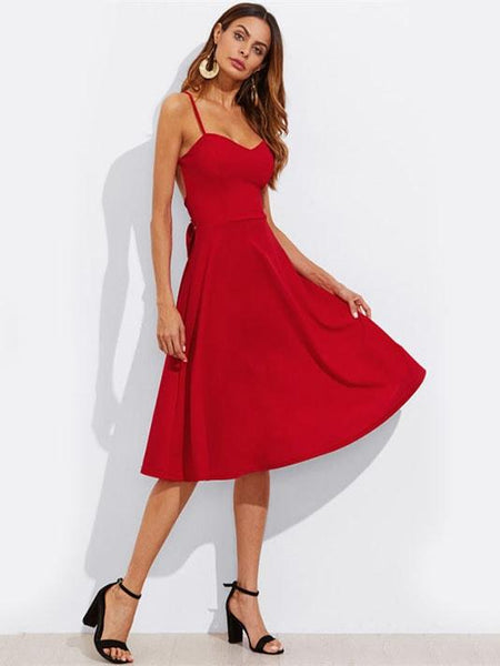 Crisscross Flared Red Dress - Modernly Fashome