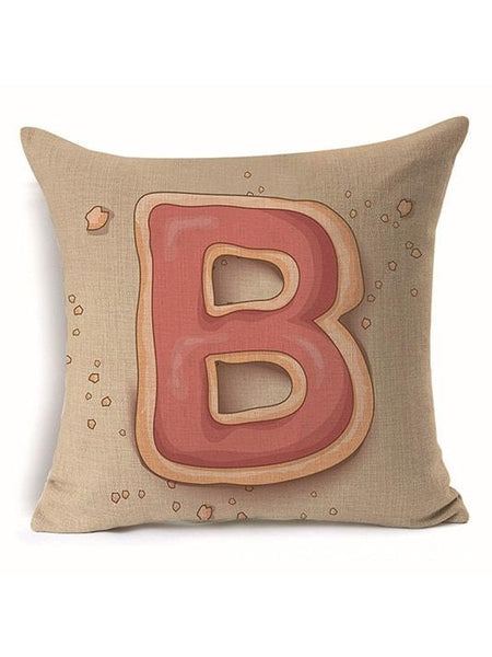 Cute Printed Alphabet Pillow Cover - Modernly Fashome