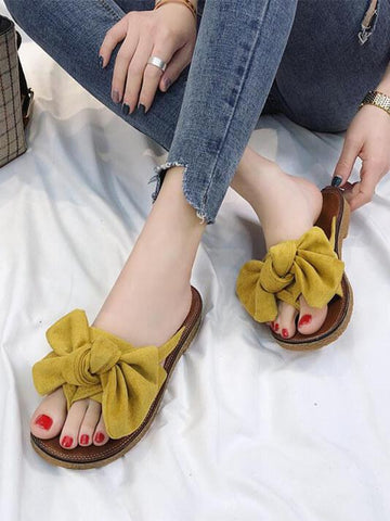 Bow Tie Flat Summer Sandals - Modernly Fashome