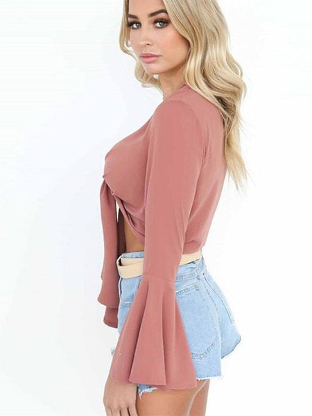Flare Sleeve Chiffon Crop Blouse - Modernly Fashome