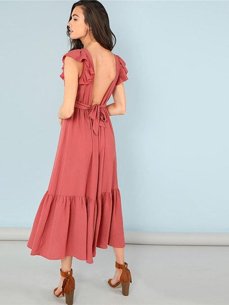Flared Backless Summer Dress - Modernly Fashome