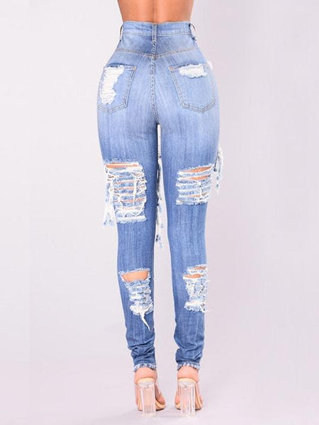 Flashing Ripped Jeans - Light Wash - Modernly Fashome