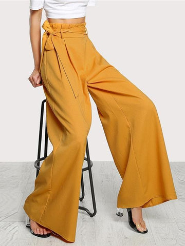 Golden High Waist Wide-Leg Trousers - Modernly Fashome