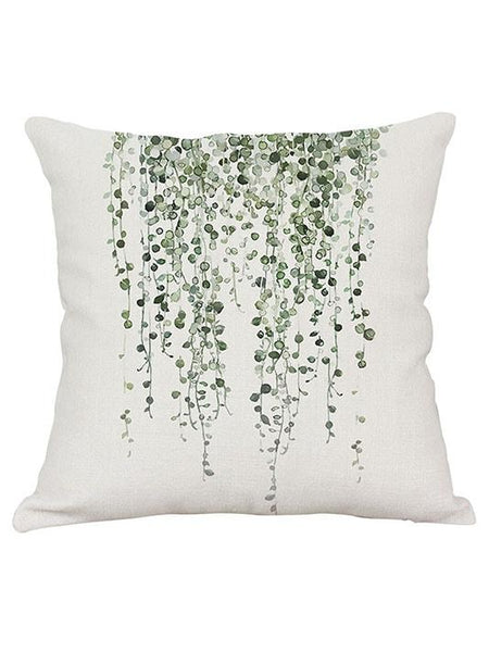 Green Printed Plants Pillow Cover - Modernly Fashome