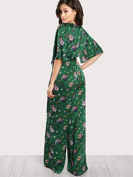 Half Sleeve Green Floral Jumpsuit - Modernly Fashome