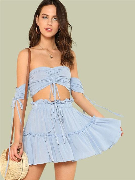 Heiress Crop Top and Drawstring Tiered Skirt Sets - Modernly Fashome