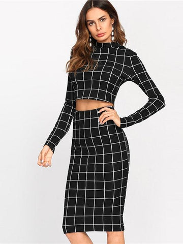 Imma Workaholic Plaid Set - Modernly Fashome