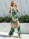 On Vacation Tropical Print Wide Leg Jumpsuit |  Em férias Tropical Print Wide Leg Jumpsuit - Modernly Fashome