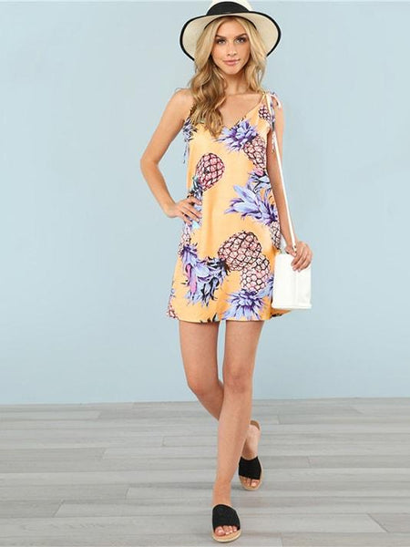 Pineapple Print Cami Dress - Yellow - Modernly Fashome