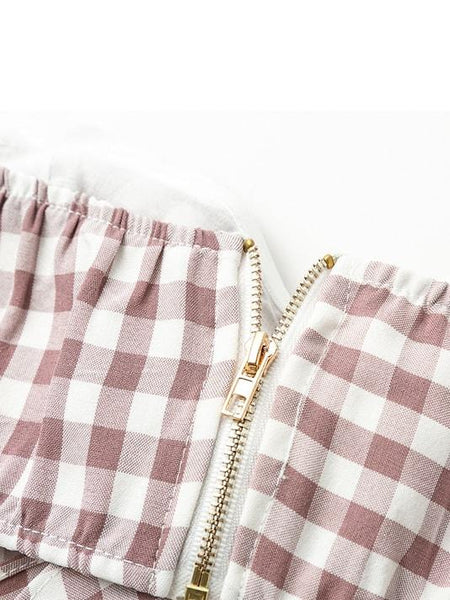 Plaid Bow Crop Top Playsuit - Modernly Fashome