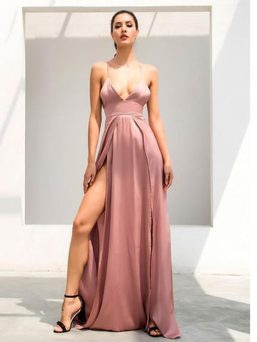 Satin V-Necked Evening Dress - Modernly Fashome