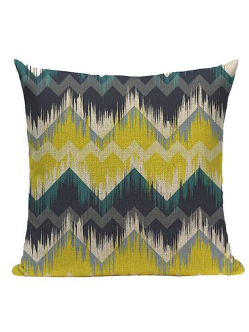 Yellow Geometric Linen Pillow Cover - Modernly Fashome