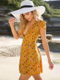 Yellow Wrap Beach Mini Dress - Modernly Fashome