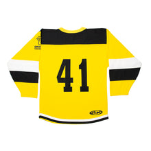 Load image into Gallery viewer, Yellow Striped Hockey Jersey with Logo