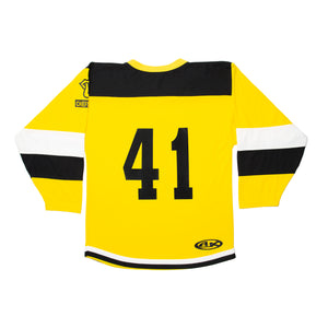 Yellow Striped Hockey Jersey with Logo