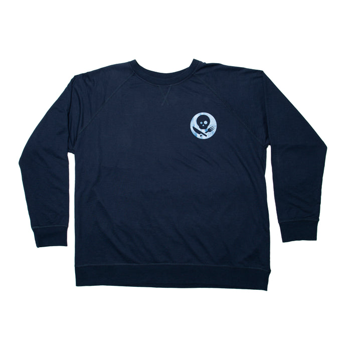 Dark Blue Long Sleeve Shirt with Inverted Logo