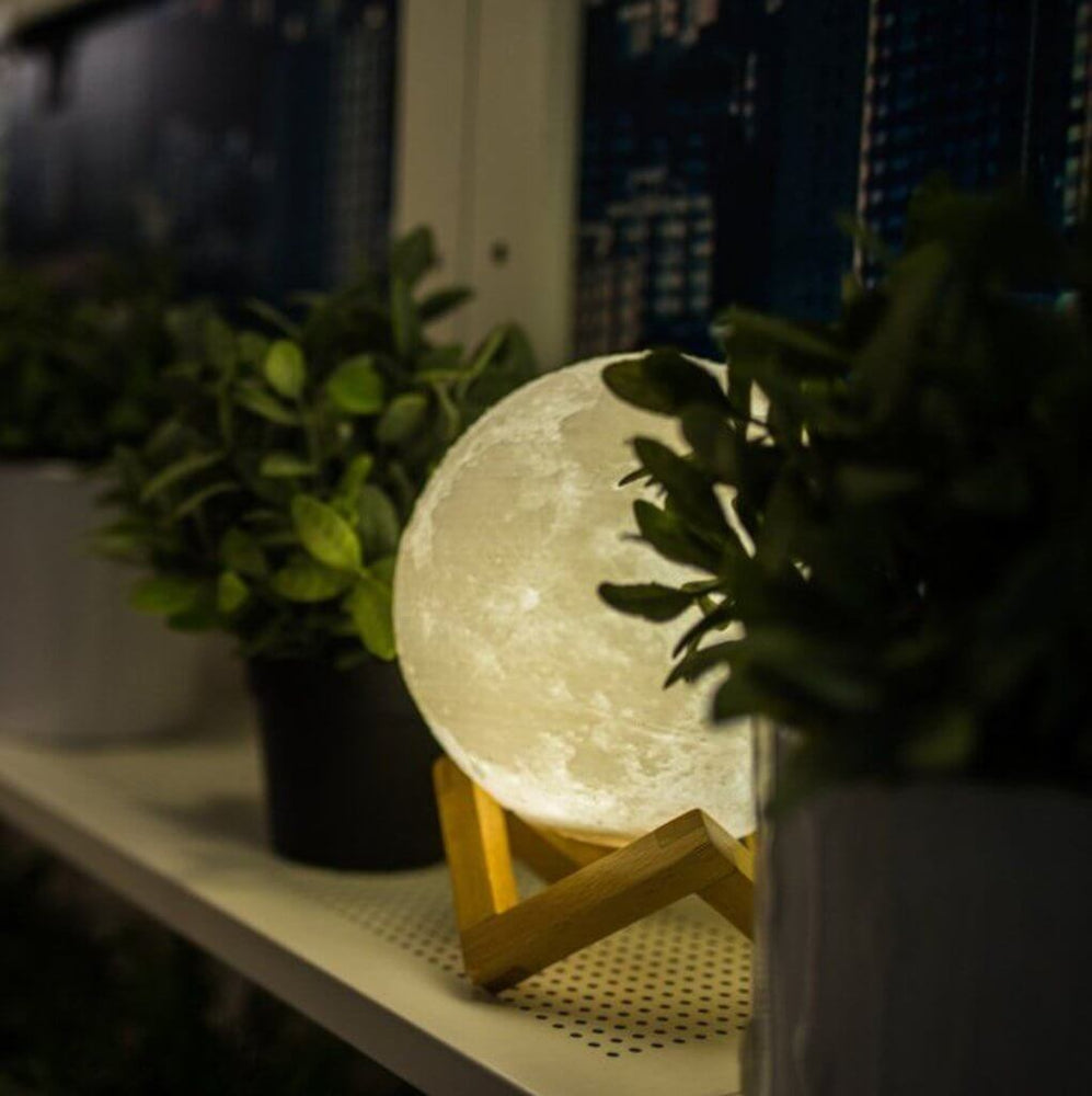 Touch Activated Dimmable Moon Lamp (3D Printed Biodegradable Plastic)