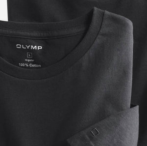 Black Round Neck T-Shirt 2 Pack by OLYMP