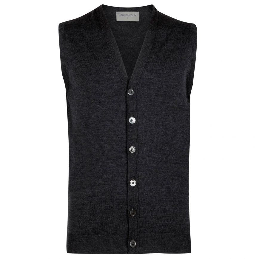 Charcoal Stavely Waistcoat by John Smedley