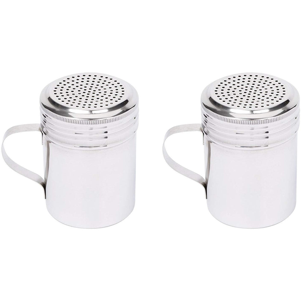Tupkee Cooking Salt and Pepper shakers - Stainless Steel Versatile Dredge Sugar Shaker with Handle - 10 oz - Commercial Grade- Pack of 2