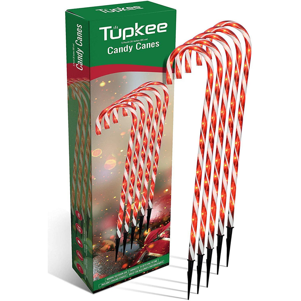 Candy Cane Lights Decorations - Pre-Lit Pathway Christmas Lights, 26-Inches (66 cm), Set of 5, Outdoor Christmas Decorations Yard Candy Cane Lights