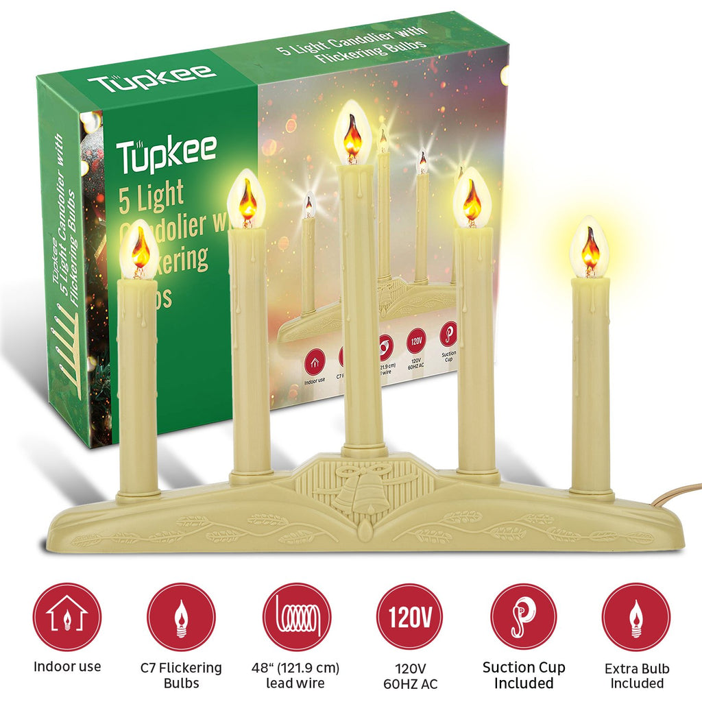 Christmas Candolier Window Candles – with Flickering Bulbs – Includes Extra Bulb, 48 Iinch Lead Wire & Suction Cup - 5-Lights Indoor -Flameless Electric Window Candles Candelabra