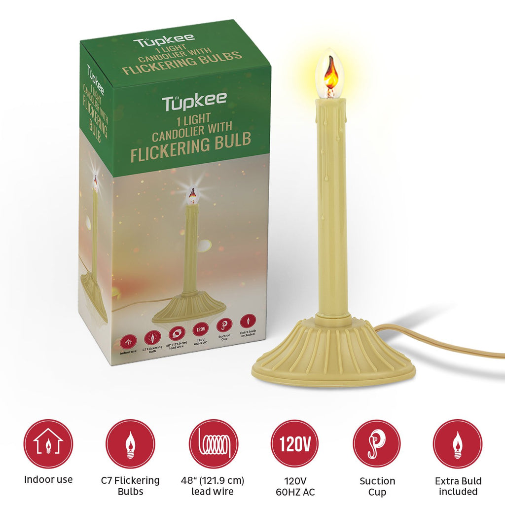 Christmas Candolier Window Candle – with Flickering Bulb – Includes Extra Bulb, 48 Iinch Lead Wire & Suction Cup - Single Indoor - Flameless Electric Window Candle Candelabra