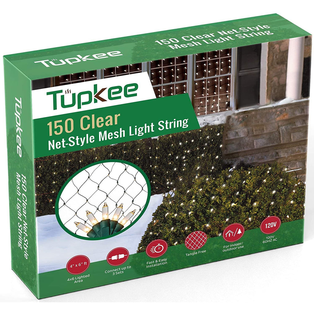 Tupkee Christmas Light Net – 150 Clear Warm Mesh Lights - 4 ft x 6 ft – Outdoor/Indoor – Net Lights for Bushes, Hedges or Trees