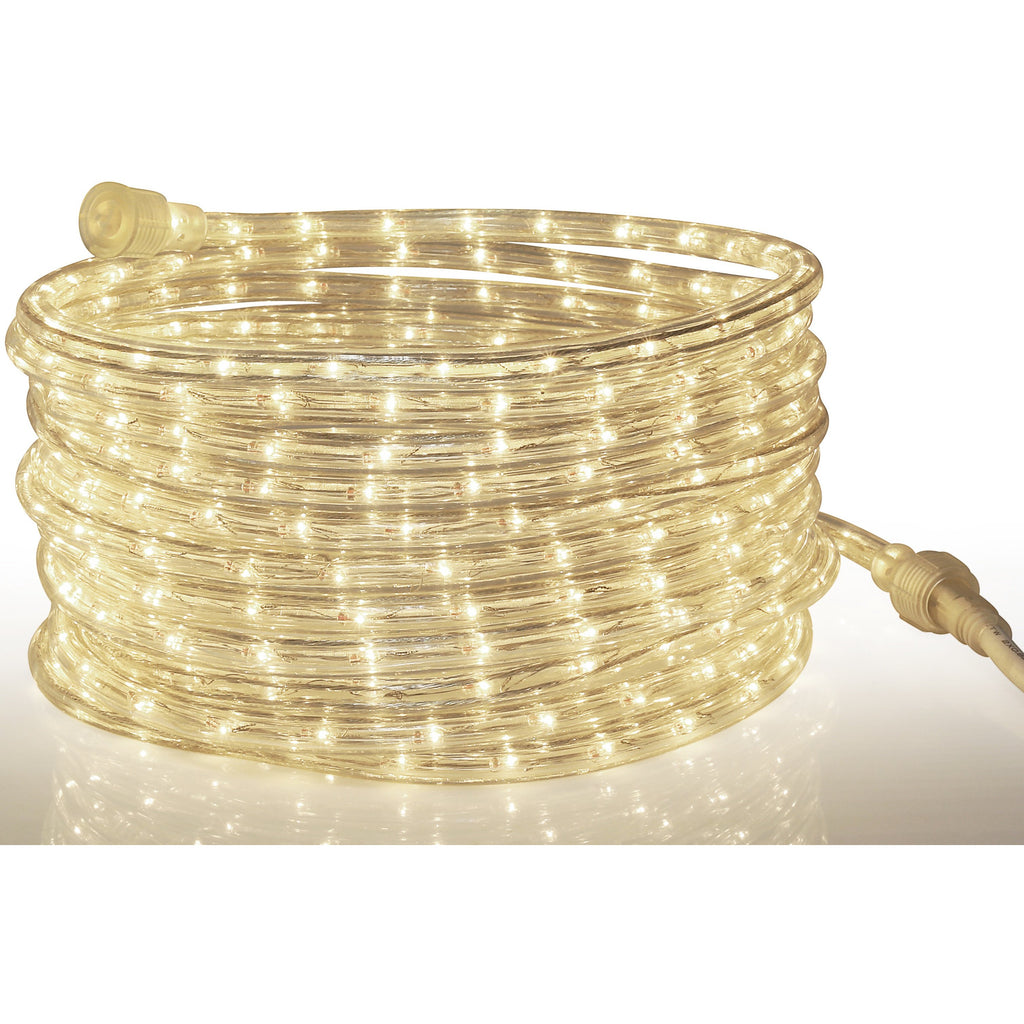 Rope Light LED Warm-White - 24 Feet (7.3 m), for Indoor and Outdoor use - 10MM Diameter - 144 LED Long Life Bulbs Rope Lights