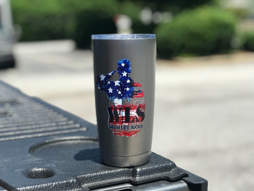 When Life Sucks WLS logo 20oz tumbler