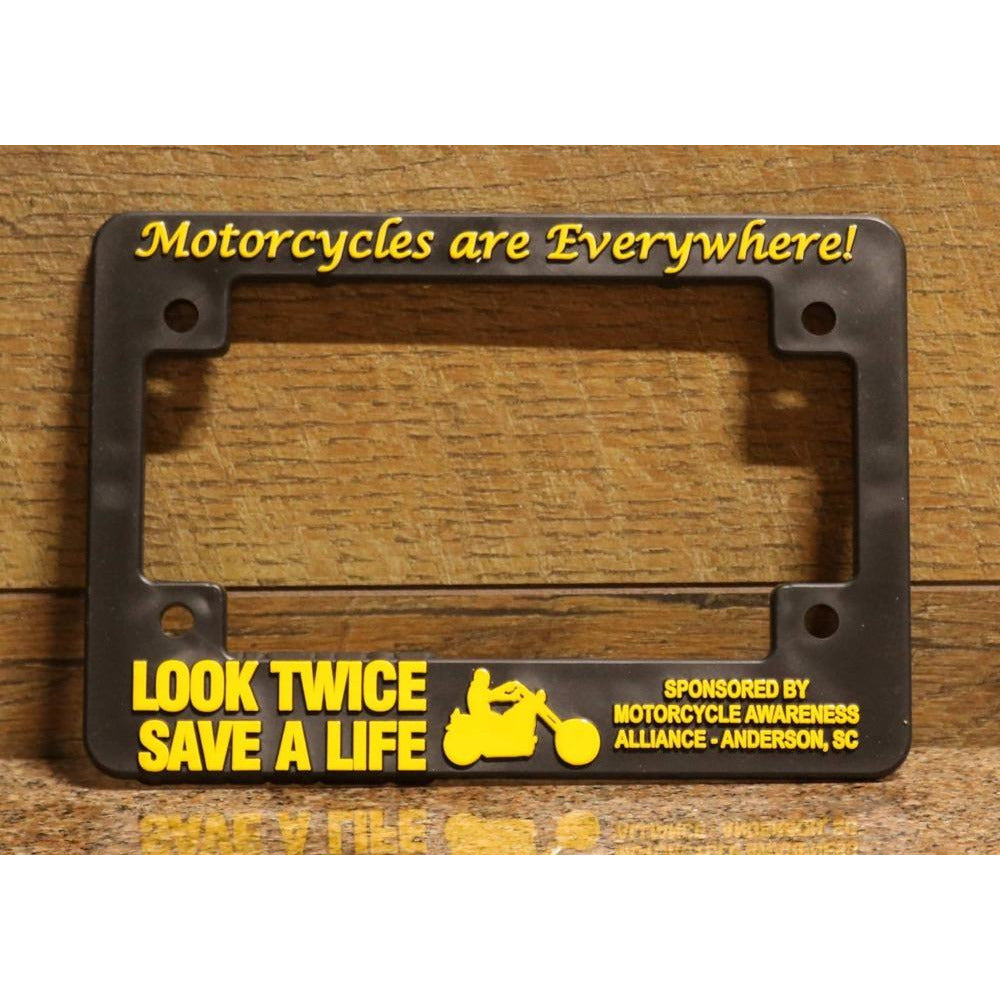 Look Twice Save a Life motorcycle license plate frame