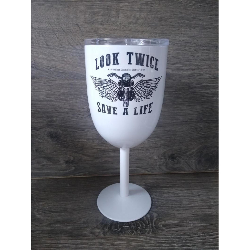 Wings Look Twice Save A Life Stainless Steel Wine Tumbler