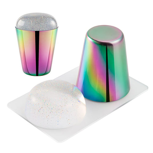 Nail Art Holographic Silicone Stamper & Scraper Set
