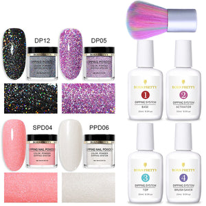 Nail Dipping Powder Glittery 9 Pcs Set