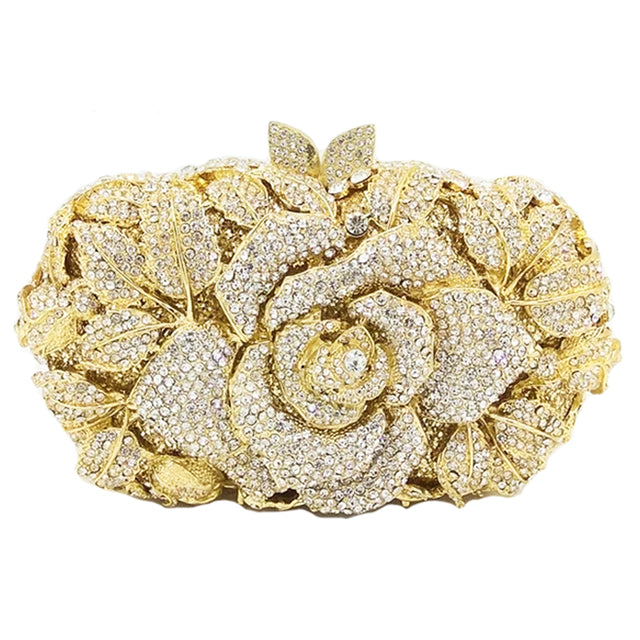 Rhinestone Rose Flower Designer Party Purse