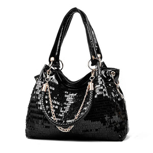 Vegan Leather Sequin Embellished Handbag