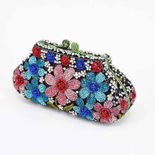 Load image into Gallery viewer, Rhinestone Flower Designer Party Purse