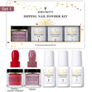 Nail Dipping Powder Acrylic & Glitter 5 Pcs Set