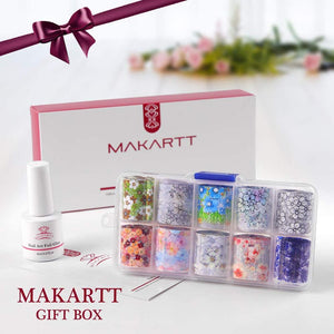 Nail Art Foil Stickers with Mini Led Lamp 11 Pcs Set