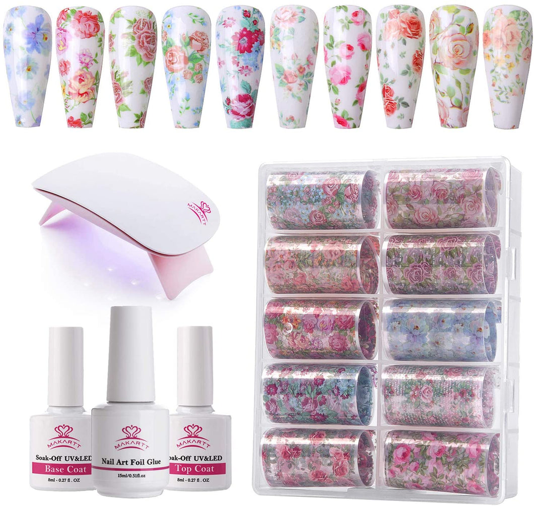 Nail Art Foil Stickers with Mini Led Lamp 14 Pcs Set