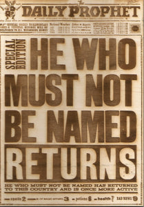 "Harry Potter - ""He Who Must Not Be Named"" Wooden News Paper - TantrumCollectibles.com"
