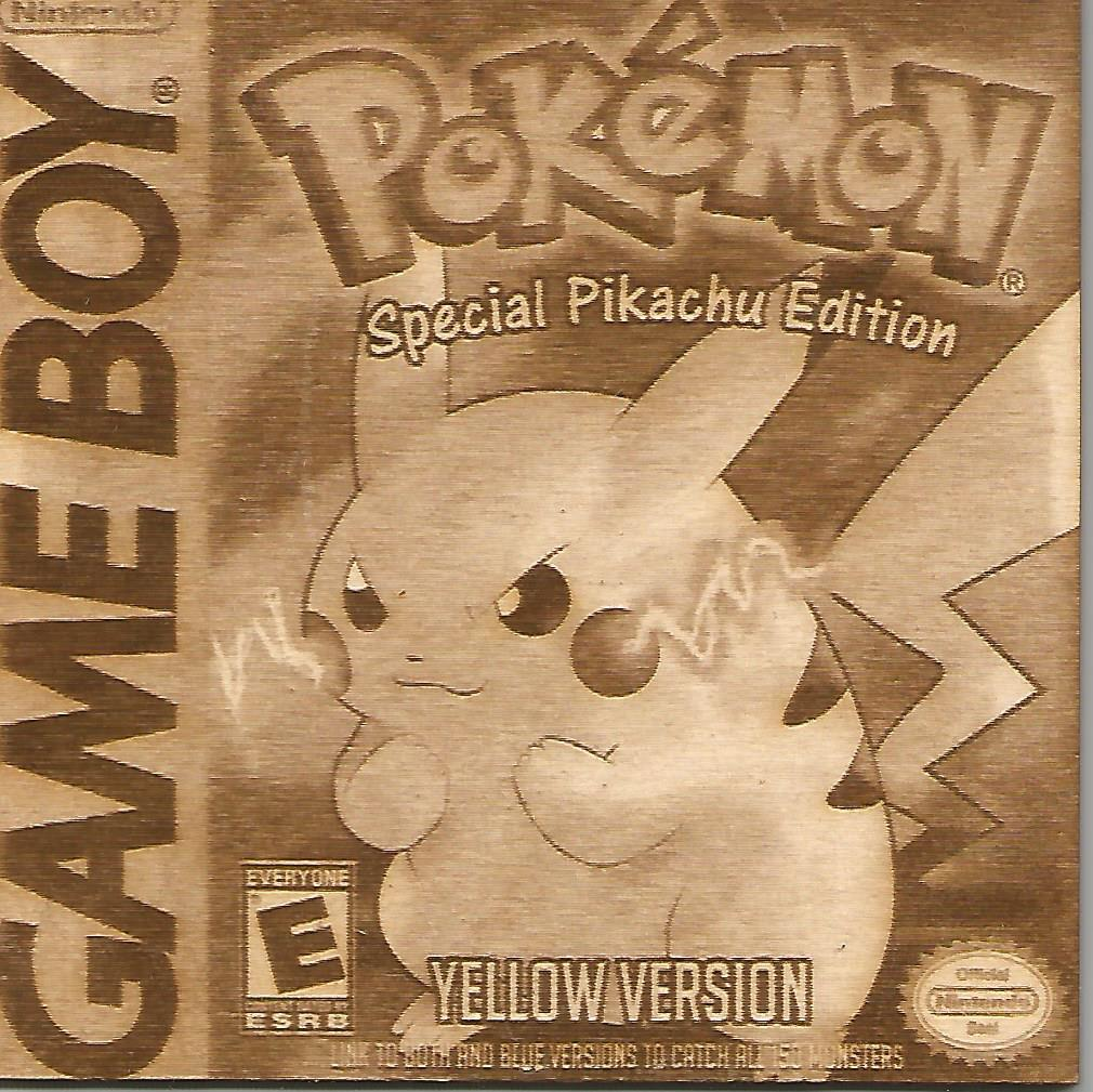 Pokemon -  Pokemon Yellow Version Wooden Game Boy Cover Art