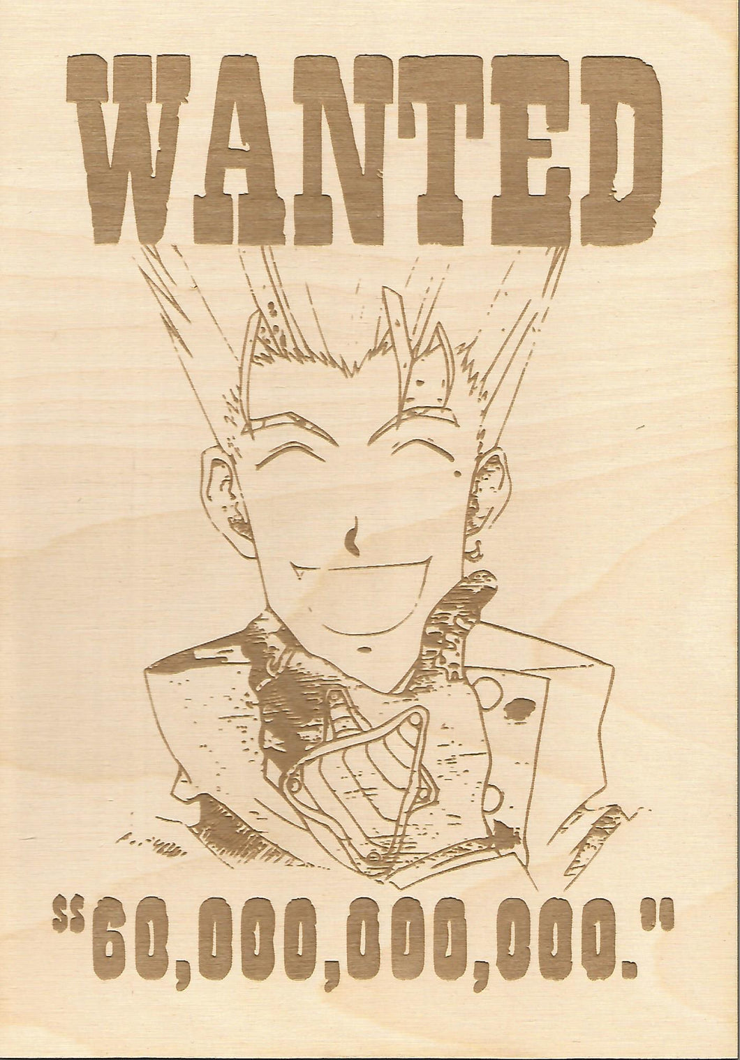 Trigun- Vash the Stampede Wooden Wanted Poster