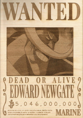 One Piece - White Beard (Edward Newgate) Wooden Wanted Poster - TantrumCollectibles.com