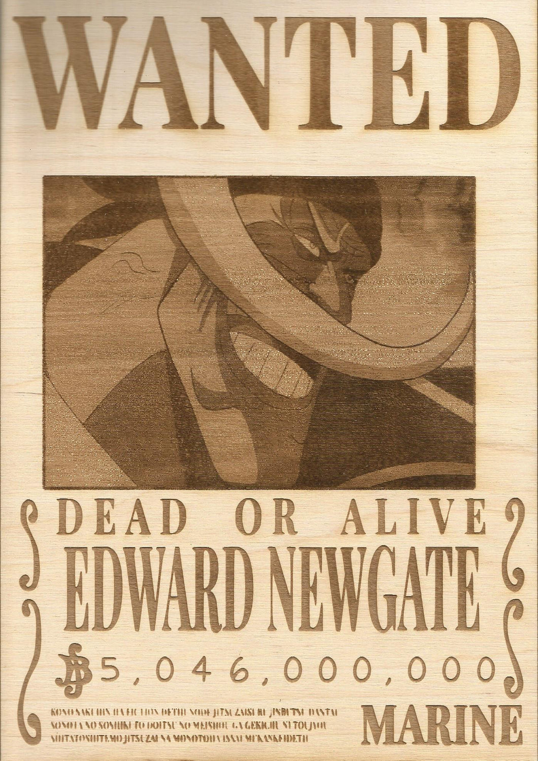 One Piece - White Beard (Edward Newgate) Wooden Wanted Poster
