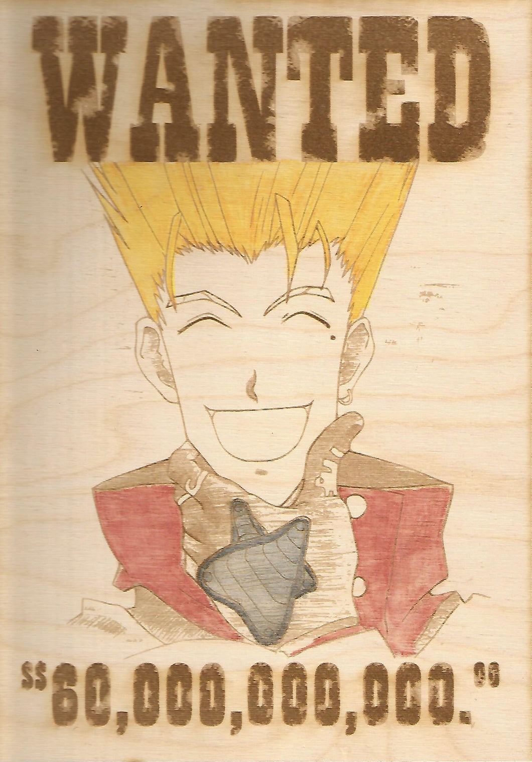 Trigun - Vash the Stampede Wooden Wanted Poster (Color) - TantrumCollectibles.com